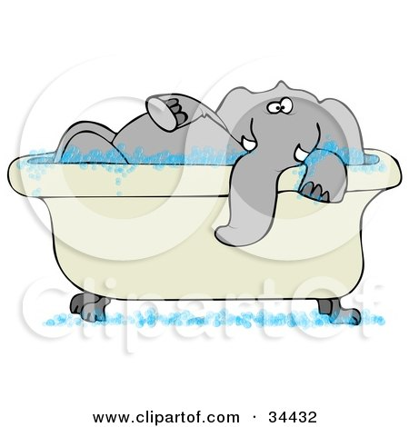 Tusked Gray Elephant Taking A Bubble Bath In A Tub Posters, Art Prints