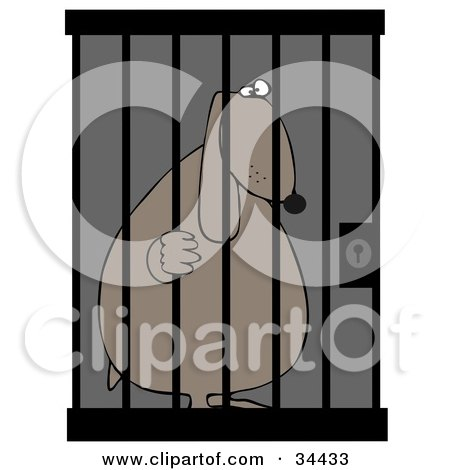 Clipart Illustration of a Jailed Dog Behind Bars In A Prison Cell by djart