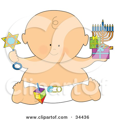 Clipart Illustration of a Hanukkah Baby In A Diaper, Holding A Star Rattle, Gifts And A Menorah by Maria Bell