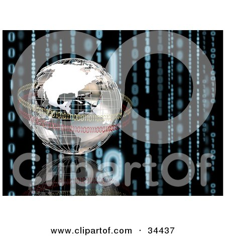 Clipart Illustration of a 3d Chrome Globe Being Circled By Yellow And Red Binary Code On A Black Background With A Reflection And Strands Of Blue Coding by KJ Pargeter