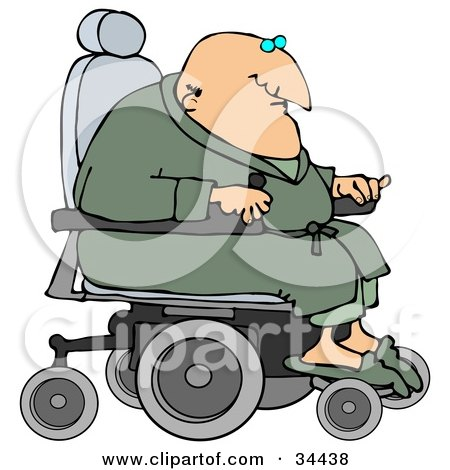 Clipart Illustration of a Geriatric Senior Man In A Green Robe And Slippers, Operating A Power Chair by djart