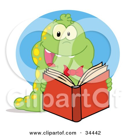 Clipart Illustration of an Excited Green Caterpillar With Yellow Spots, Reading An Entertaining Book by Hit Toon