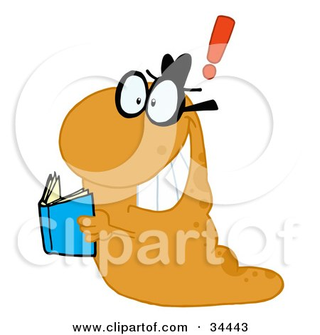 Clipart Illustration of a Creative Orange Worm With A Thought, Holding A Blue Book by Hit Toon