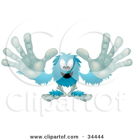 Clipart Illustration of a Blue Furry Monster Reaching His Arms Out To The Viewer by AtStockIllustration