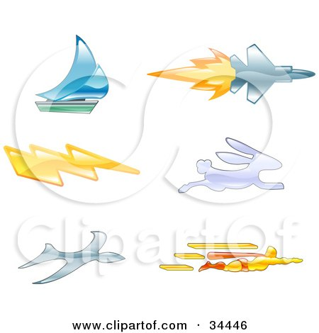 Royalty-free clipart picture of icons of a sailboat, jet, lightning bolt