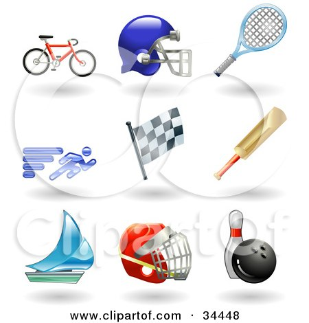 Clipart Illustration of a Bike, Helmet, Tennis Racket, Runner, Racing Flag, Cricket Bat, Sailboat, Hockey Helmet And Bowling Ball With Pin by AtStockIllustration