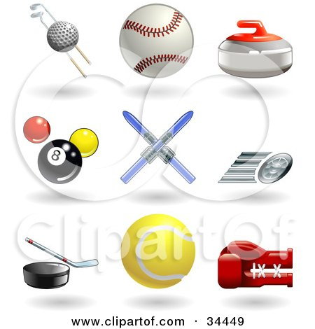 Clipart Illustration of a Golf Ball With Clubs, Baseball, Curling Stone, Pool Balls, Skis, Fast Tire, Hockey Puck, Tennis Ball And Boxing Glove by AtStockIllustration