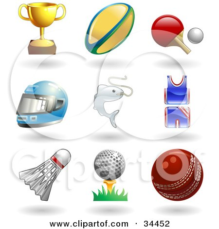 Clipart Illustration of a Trophy Cup, Rugby Ball, Ping Pong Paddle And Ball, Helmet, Fish, Uniform, Shuttlecock, Golfball On Tee And A Cricket Ball by AtStockIllustration