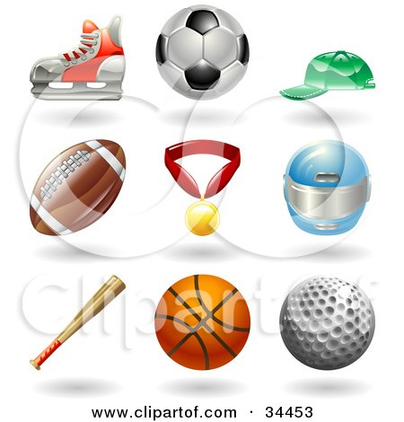 Clipart Illustration of a Hockey Skate, Soccer Ball, Baseball Cap, American Football, Medal, Helmet, Baseball Bat, Basketball And Golf Ball by AtStockIllustration