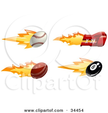 Clipart Illustration of a Fast Fiery Baseball, Boxing Glove, Cricket Ball And Eight Ball by AtStockIllustration