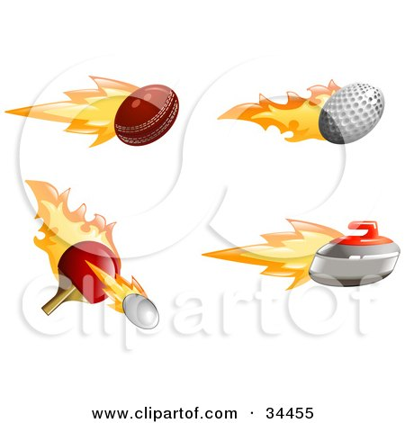 Clipart Illustration of a Set Of Fast Fiery Cricket, Golf And Tennis Balls With A Curling Stone by AtStockIllustration