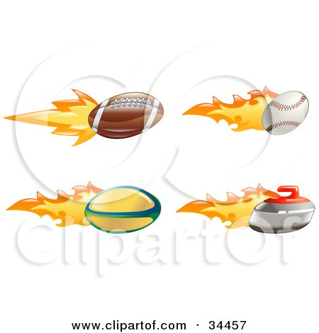 Clipart Illustration of a Fast Fiery American Football, Baseball, Rugby Ball And Curling Stone by AtStockIllustration