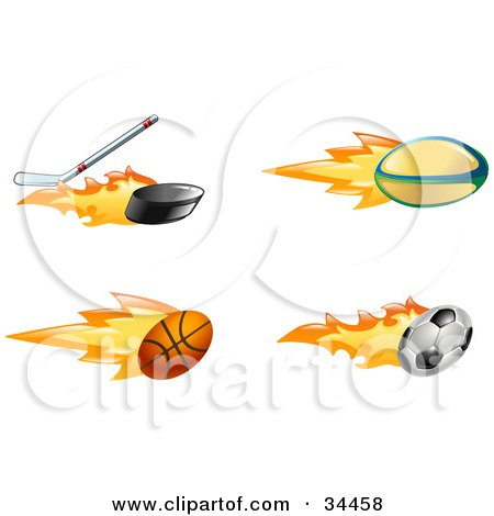 Clipart Illustration of a Fast Fiery Hockey Stick Hitting A Puck, Rugby Ball, Basketball And Soccer Ball by AtStockIllustration