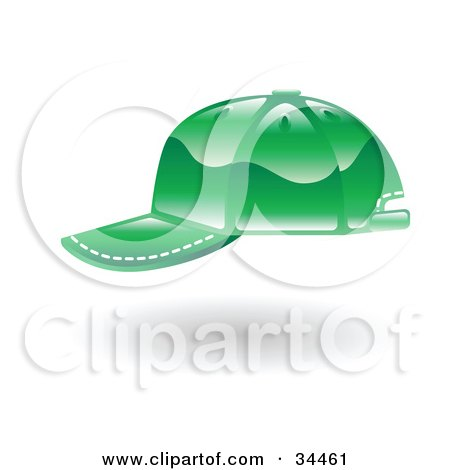 Clipart Illustration of a Green Baseball Cap With White Stitching by AtStockIllustration