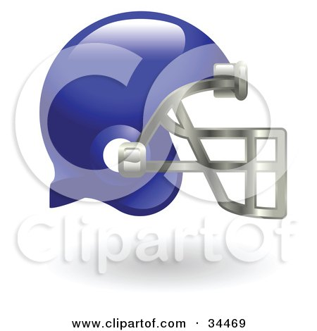 Royalty-free sports clipart picture of a blue protective football helmet,