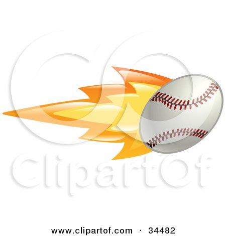 Clipart Illustration of a Flaming Baseball Flying Past by AtStockIllustration