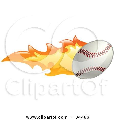 Clipart Illustration of a Baseball On Fire by AtStockIllustration