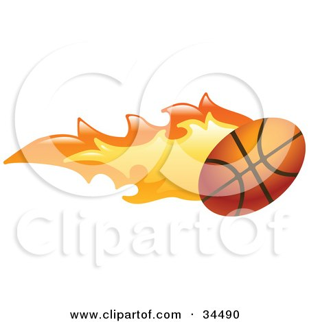Clipart Illustration of a Basketball on Fire by AtStockIllustration