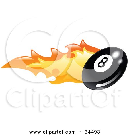 Clipart Illustration of a Flaming Eight Ball Flying Past by AtStockIllustration