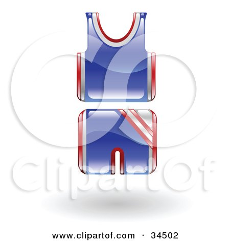 Clipart Illustration of a Blue And Red Basketball Uniform by AtStockIllustration