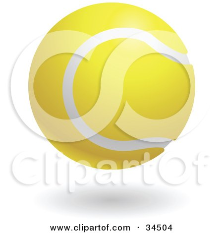 Clipart Illustration of a White And Yellow Tennis Ball by AtStockIllustration