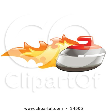 Clipart Illustration of a Curling Stone On Fire by AtStockIllustration