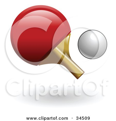 Clipart Illustration of a Red Ping Pong Paddle And A White Ball by AtStockIllustration