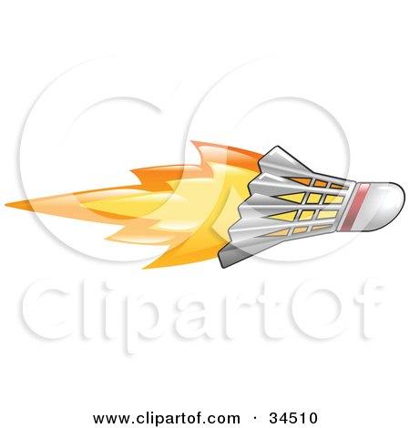 Clipart Illustration of a Flaming Badminton Shuttlecock Flying Past by AtStockIllustration
