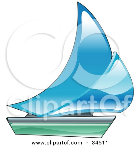 Clipart Illustration of a Blue And Green Sailing Boat by ...