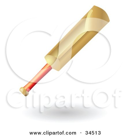 Clipart Illustration of a Wooden Cricket Bat With A Red Handle by AtStockIllustration