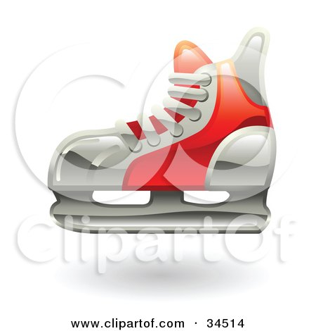 Clipart Illustration of a Red Hockey Ice Skate by AtStockIllustration