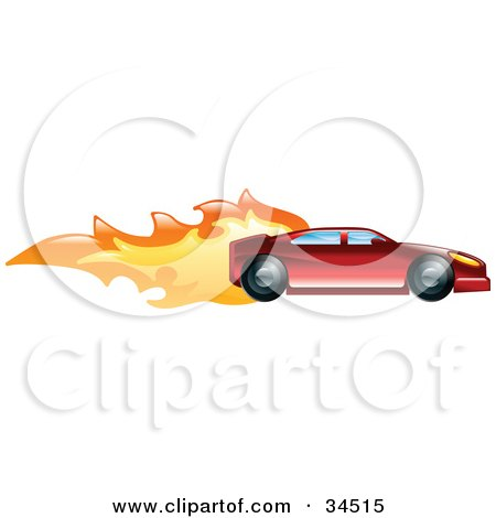 Fast Red Sports Car Speeding With Flames Posters, Art Prints