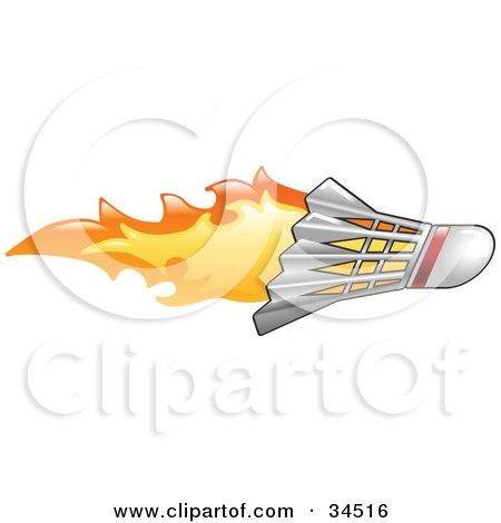 Clipart Illustration of a Badminton Shuttlecock On Fire by AtStockIllustration