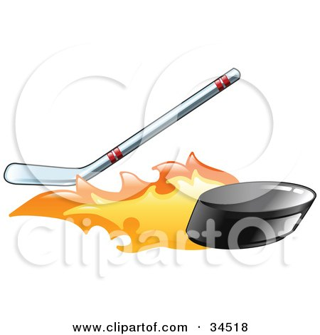 Clipart Illustration of a Flaming Black Hockey Puck Flying Away From A Hockey Stick by AtStockIllustration