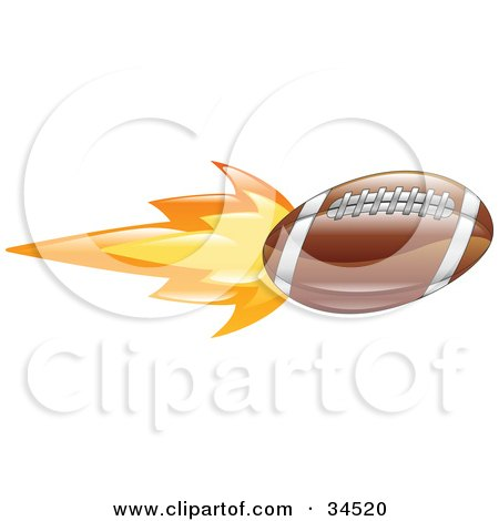 Clipart Illustration of an American Football On Fire by AtStockIllustration