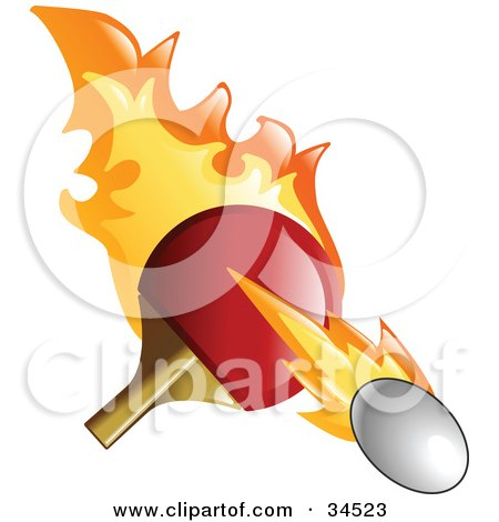 Clipart Illustration of a Flaming Pink Pong Paddle Whacking A Ball by AtStockIllustration