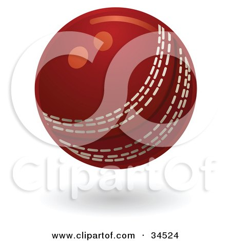 Clipart Illustration of a Red Cricket Ball With White Stitching by AtStockIllustration