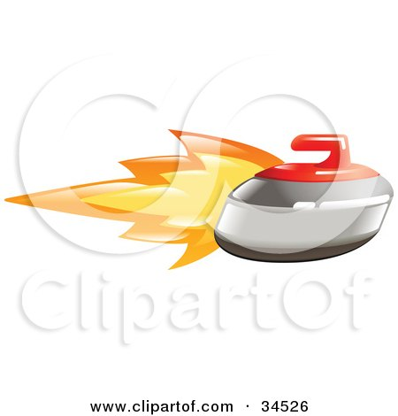 Clipart Illustration of a Flaming Curling Stone Flying Past by AtStockIllustration