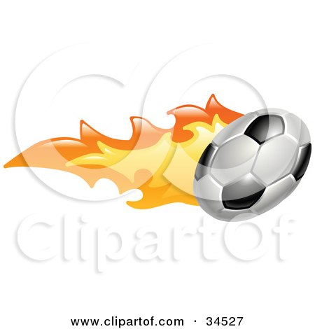 Clipart Illustration of a Flaming Soccer Ball Flying Past by AtStockIllustration