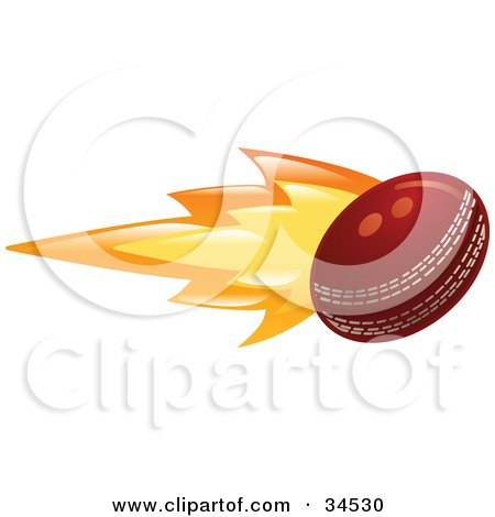 Clipart Illustration of a Cricket Ball On Fire by AtStockIllustration