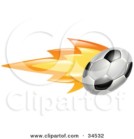 Clipart Illustration of a Soccer Ball On Fire by AtStockIllustration
