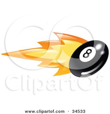 Clipart Illustration of a Billiards Eight Ball On Fire by AtStockIllustration