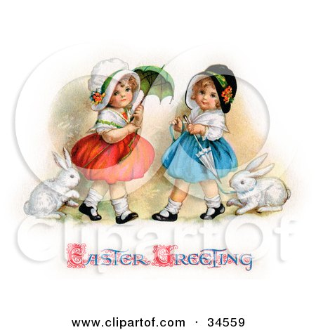 Clipart Illustration of Two Sisters Walking Their Pet Rabbits On Leashes And Carrying Parasols On Easter by OldPixels