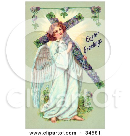 Clipart Illustration of a Victorian Angel Carrying an Easter Cross by OldPixels