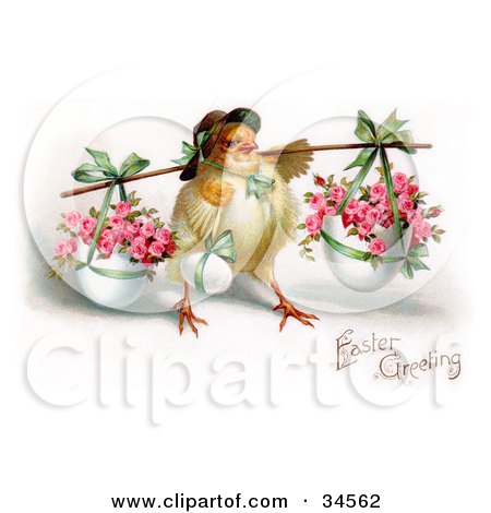 Clipart Illustration of Cute Chick Wearing A Bonnet, Carrying An Easter Egg And Baskets Of Pink Roses In Planters On A Pole by OldPixels