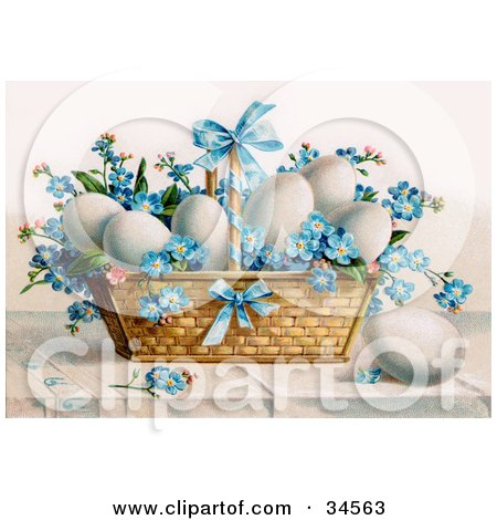 White Chicken Eggs And Blue Forget Me Not Flowers In An Easter Basket Posters, Art Prints