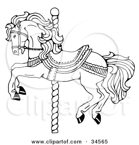 Clipart Illustration Of Cute Carousel Horses And Stars On