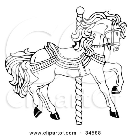 Clipart Illustration of a Carousel Horse Facing Right, On A Spiral Pole by C Charley-Franzwa
