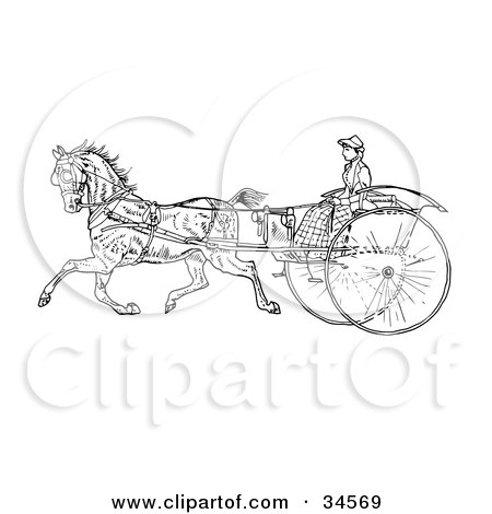 Clipart Illustration of a Young Lady Holding The Reins To A Horse On A Buggy by C Charley-Franzwa