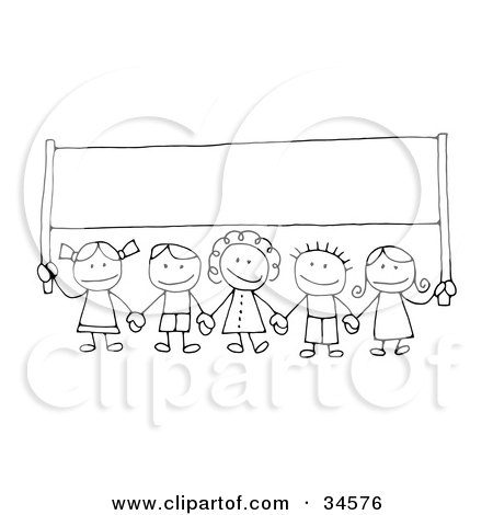 group of happy stick children holding hands and carrying a blank banner,